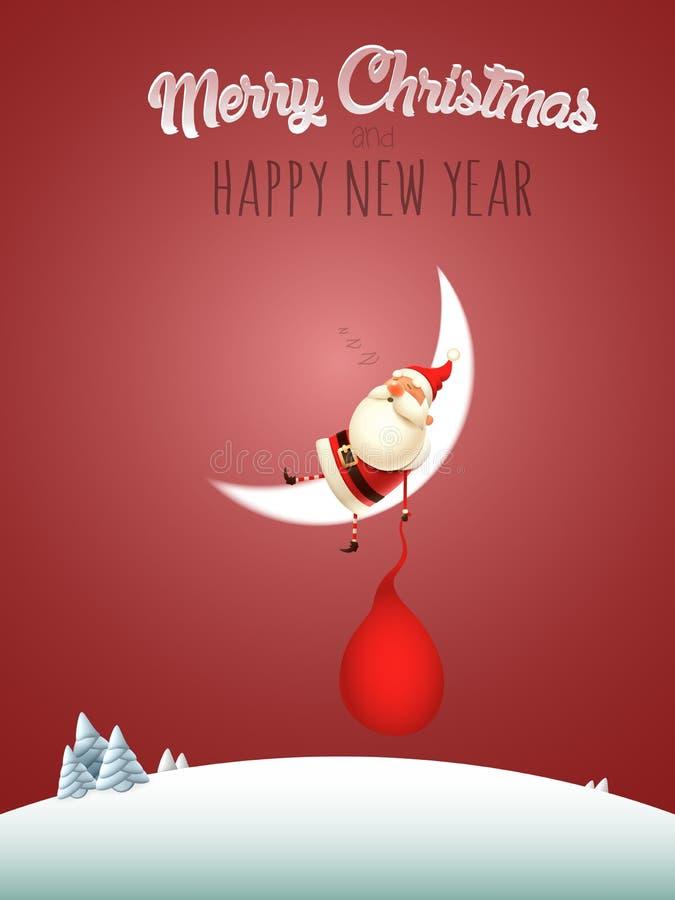 Ύπνος Άγιου Βασίλη στο φεγγάρι - Χαρούμενα Χριστούγεννα και ευχετήρια κάρτα καλής χρονιάς διανυσματική απεικόνιση