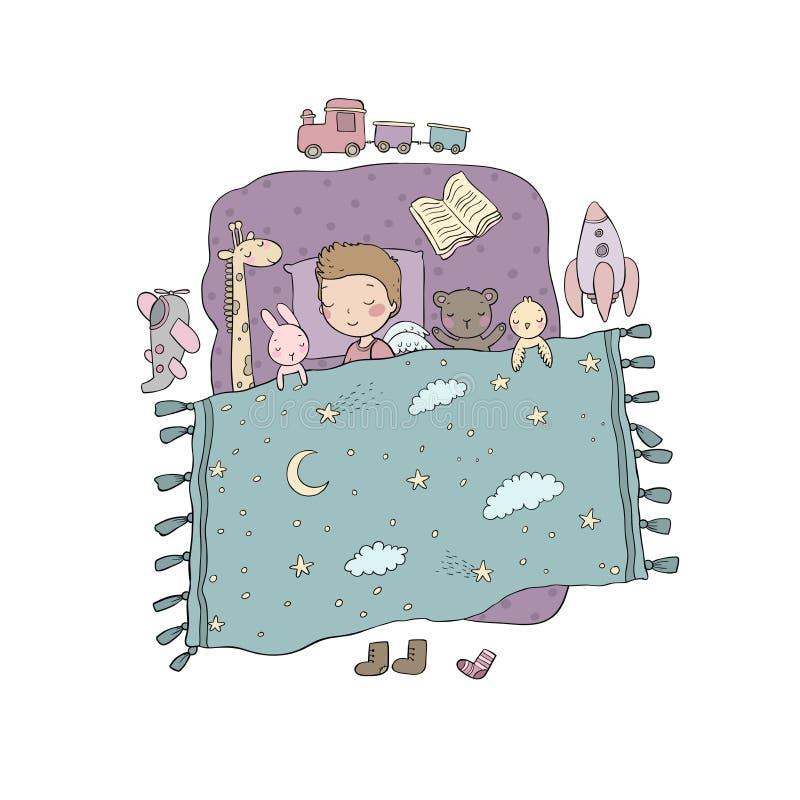 ύπνος αγοριών Μωρό στο κρεβάτι με τα παιχνίδια χρόνος ύπνου Διανυσματική απεικόνιση με τα πουλιά και τα λουλούδια απεικόνιση αποθεμάτων