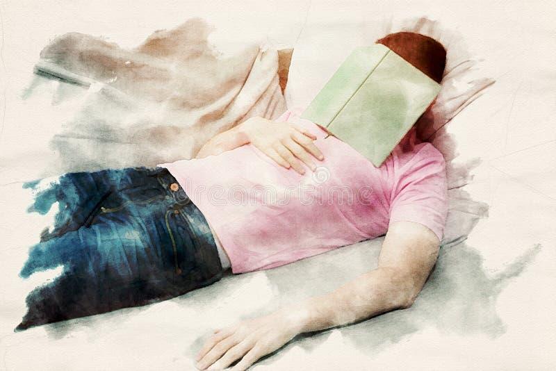 Ύπνος ατόμων στον καναπέ με το βιβλίο στο κεφάλι του απεικόνιση αποθεμάτων