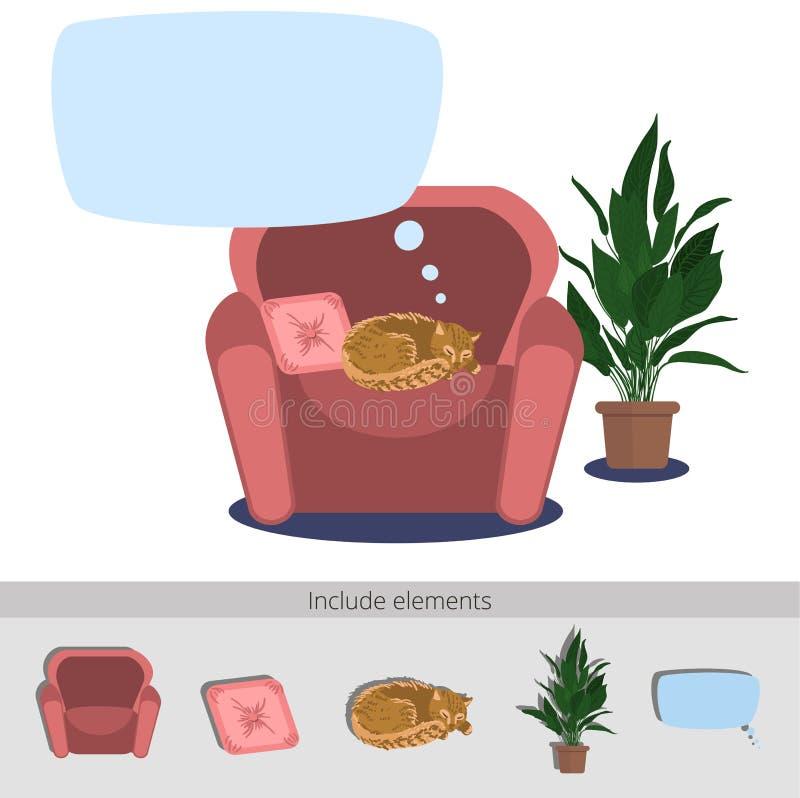 Ύπνος γατών στην πολυθρόνα διανυσματική απεικόνιση