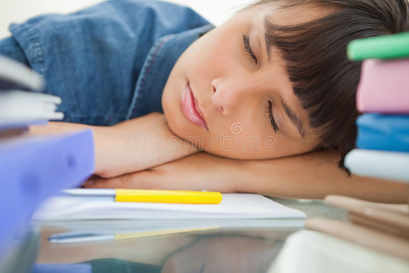 Ύπνος γυναικών σπουδαστών μεταξύ των βιβλίων της στοκ φωτογραφίες με δικαίωμα ελεύθερης χρήσης