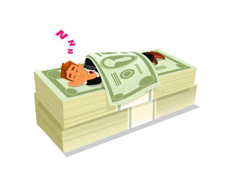 Ύπνος επιχειρηματιών στο πακέτο των μετρητών ή των χρημάτων απεικόνιση αποθεμάτων