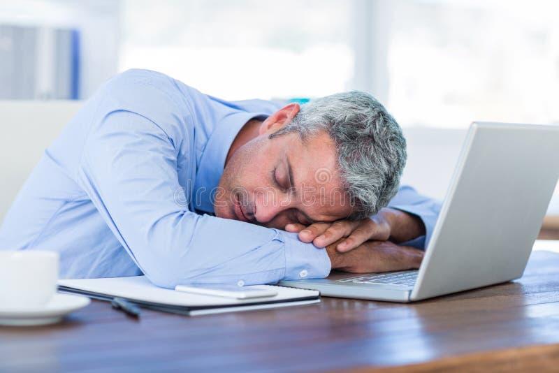 Ύπνος επιχειρηματιών στο φορητό προσωπικό υπολογιστή στοκ φωτογραφίες με δικαίωμα ελεύθερης χρήσης