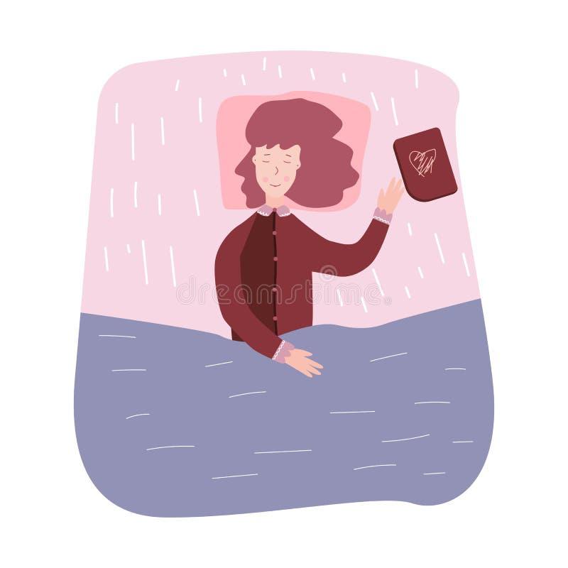 Ύπνος και όνειρο γυναικών Το κορίτσι έπεσε κοιμισμένα βιβλία ανάγνωσης διανυσματική απεικόνιση