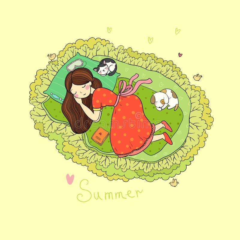 Ύπνος κοριτσιών, γατών και σκυλιών στο κρεβάτι Διανυσματική απεικόνιση με τα πουλιά και τα λουλούδια ελεύθερη απεικόνιση δικαιώματος