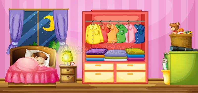 Ύπνος κοριτσιών στην κρεβατοκάμαρα διανυσματική απεικόνιση