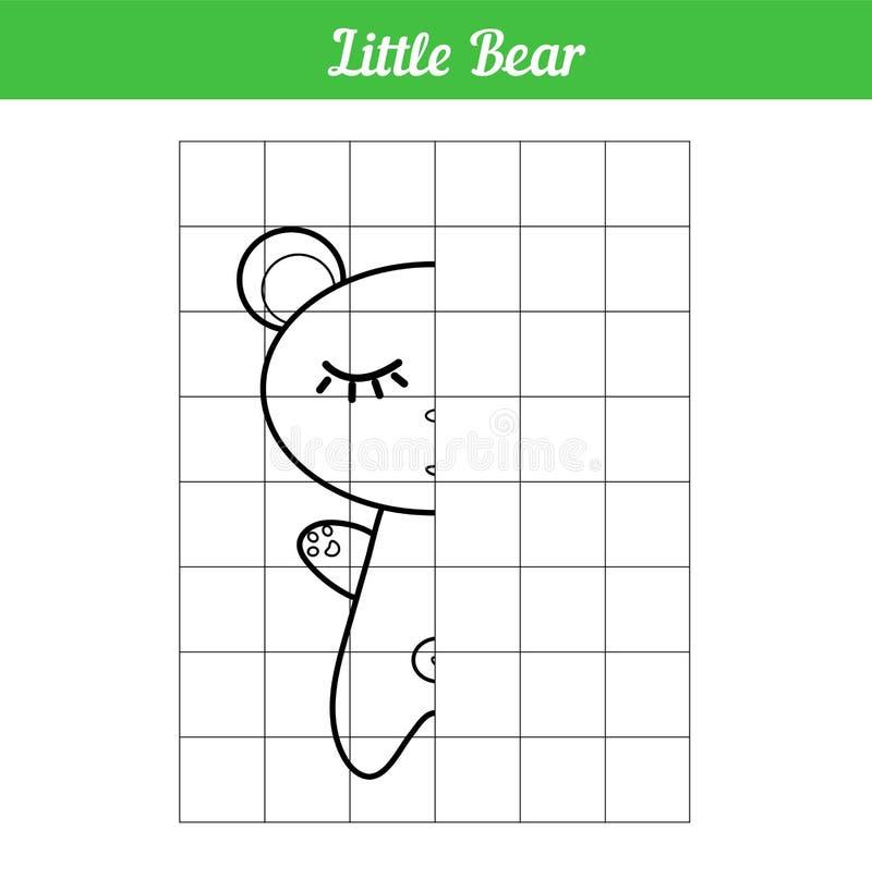 Ύπνος λίγης αρκούδας Αντιγράψτε την εικόνα σύμφωνα με τη γραμμή πλέγματος Διανυσματικό χρωματίζοντας βιβλίο για το εκπαιδευτικό π ελεύθερη απεικόνιση δικαιώματος