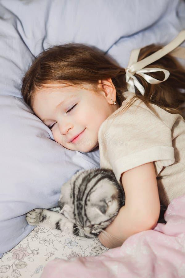 Ύπνος μικρών κοριτσιών στο κρεβάτι με τη γάτα της στοκ φωτογραφία
