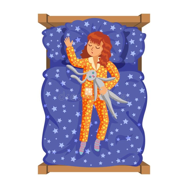 Ύπνος μικρών κοριτσιών στο κρεβάτι της με το λαγουδάκι παιχνιδιών Δραστηριότητα παιδιών ` s διανυσματική απεικόνιση
