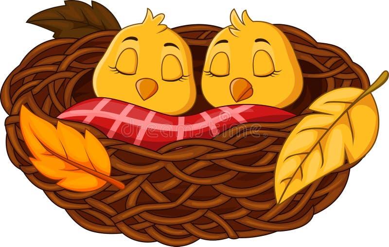 Ύπνος πουλιών μωρών κινούμενων σχεδίων στη φωλιά διανυσματική απεικόνιση