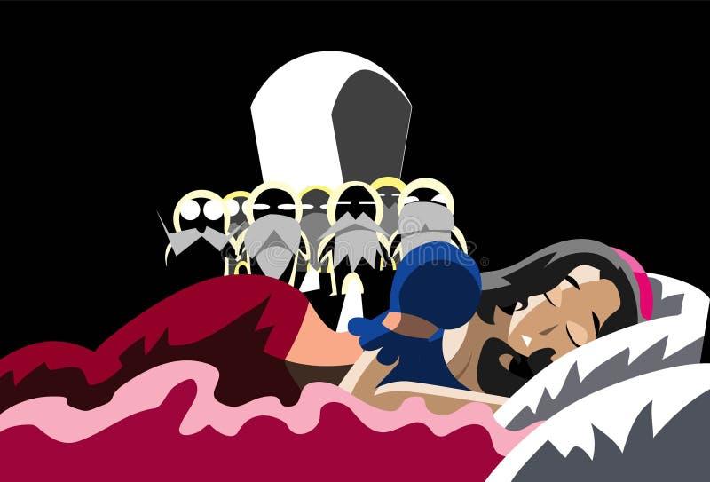 ύπνος σπορείων λευκός σ&alpha διανυσματική απεικόνιση
