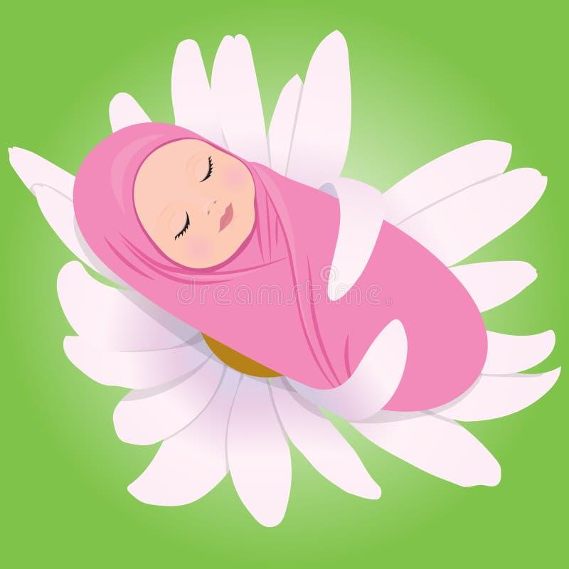 Ύπνος babe στη Daisy απεικόνιση αποθεμάτων