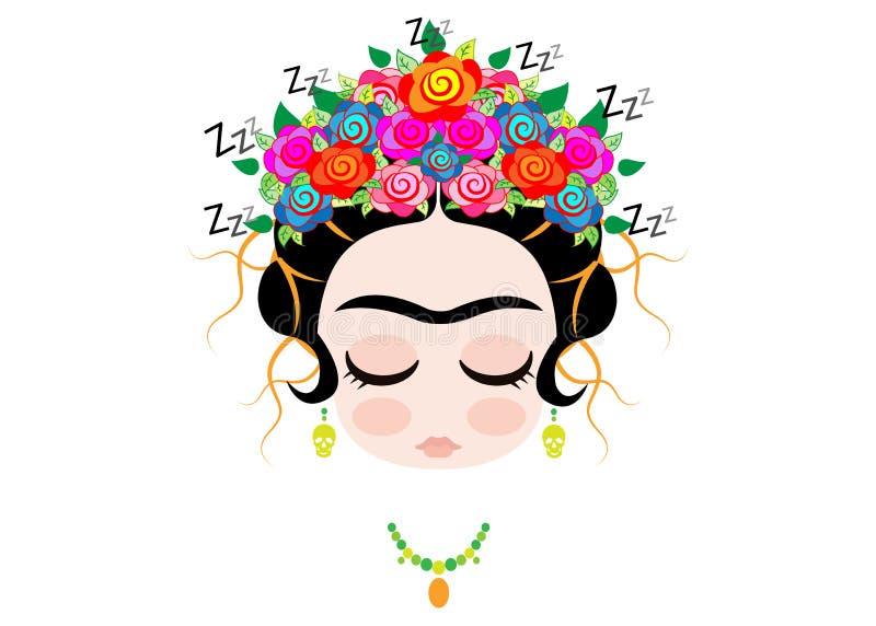 Ύπνος Frida Kahlo μωρών Emoji με την κορώνα και των ζωηρόχρωμων λουλουδιών, που απομονώνονται διανυσματική απεικόνιση