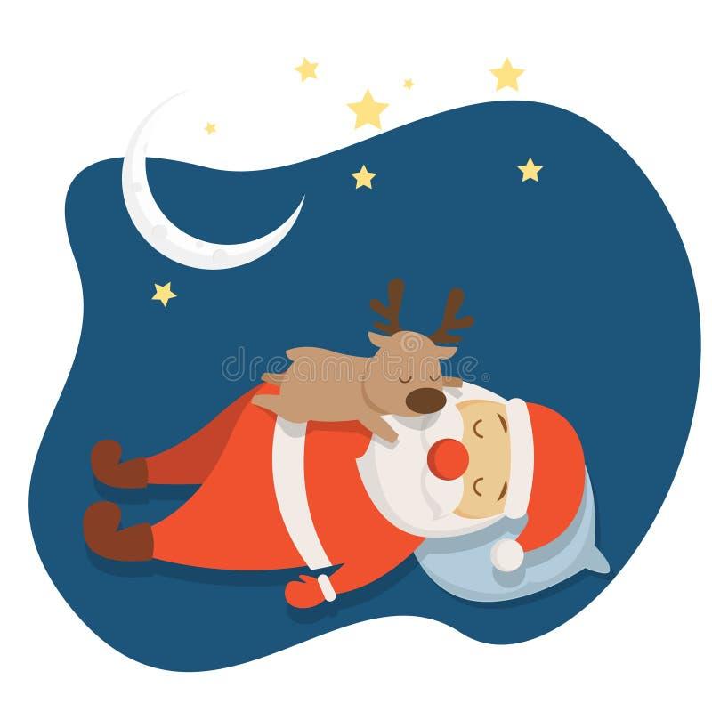Ύπνος Santa ` s στα κινούμενα σχέδια νύχτας Χριστουγέννων στοκ εικόνες με δικαίωμα ελεύθερης χρήσης