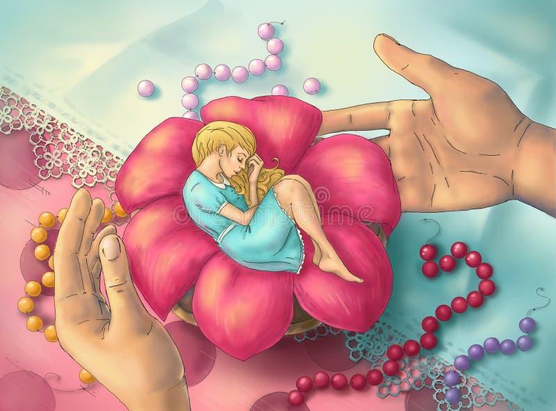 Ύπνος Thumbelina σε ένα λουλούδι. διανυσματική απεικόνιση