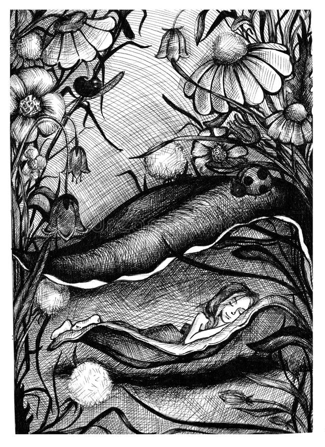 Ύπνος Thumbelina σε ένα φύλλο μεταξύ των λουλουδιών στη χλόη Συρμένη χέρι απεικόνιση μελανιού σκίτσων ελεύθερη απεικόνιση δικαιώματος