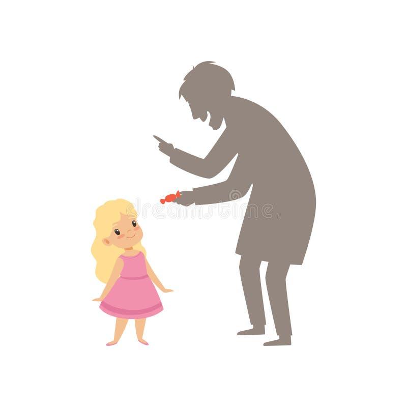 Ύποπτος ξένος που προσφέρει μια καραμέλα σε ένα μικρό κορίτσι, παιδί στη διανυσματική απεικόνιση επικίνδυνης κατάστασης σε ένα λε απεικόνιση αποθεμάτων