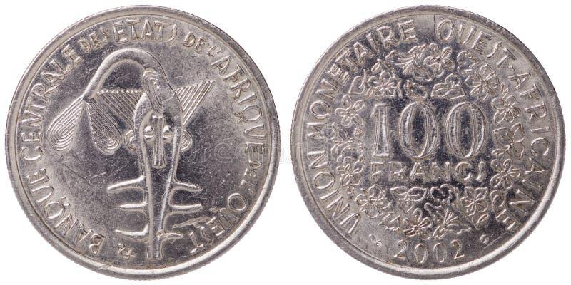 100 δύση - αφρικανικό νόμισμα φράγκων CFA, 2002, και οι δύο πλευρές στοκ εικόνα