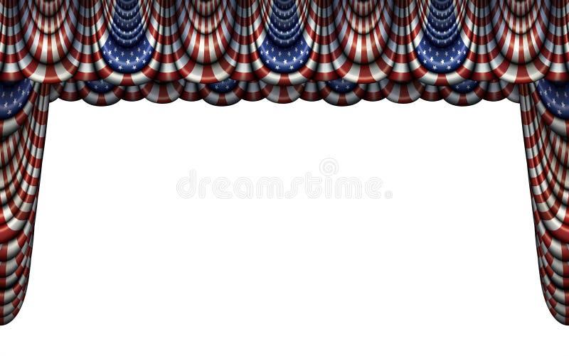 Ύφασμα Ηνωμένων σημαιών και σκηνική κουρτίνα ελεύθερη απεικόνιση δικαιώματος
