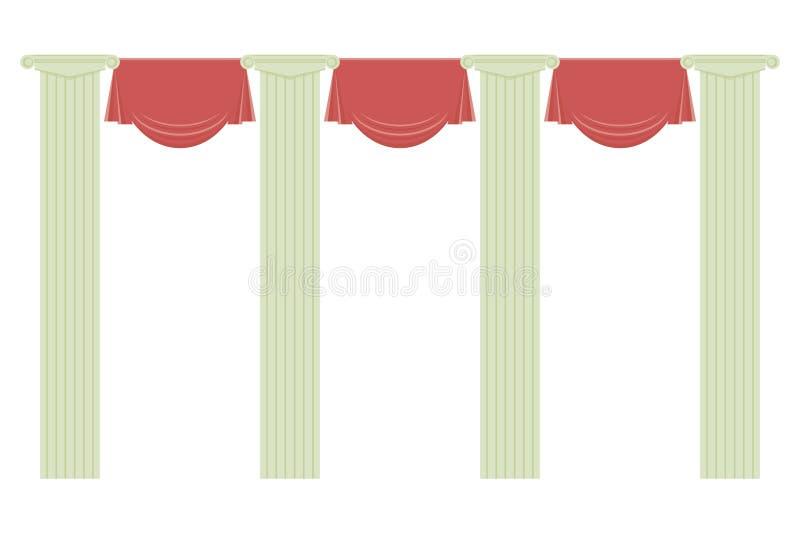 Ύφασμα κουρτινών τεσσάρων κλασικό γκρίζο στηλών φωτεινό κόκκινο που απομονώνεται στο άσπρο θέατρο εκπαίδευσης σχεδίων υποβάθρου δ ελεύθερη απεικόνιση δικαιώματος