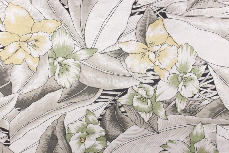 Ύφασμα με τη σύσταση και το υπόβαθρο σχεδίων λουλουδιών στοκ εικόνες