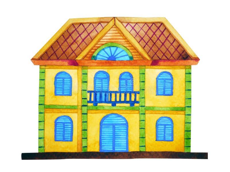 Ύφος αρχιτεκτονικής σπιτιών μελοψωμάτων, συρμένη χέρι ζωγραφική watercolor ελεύθερη απεικόνιση δικαιώματος