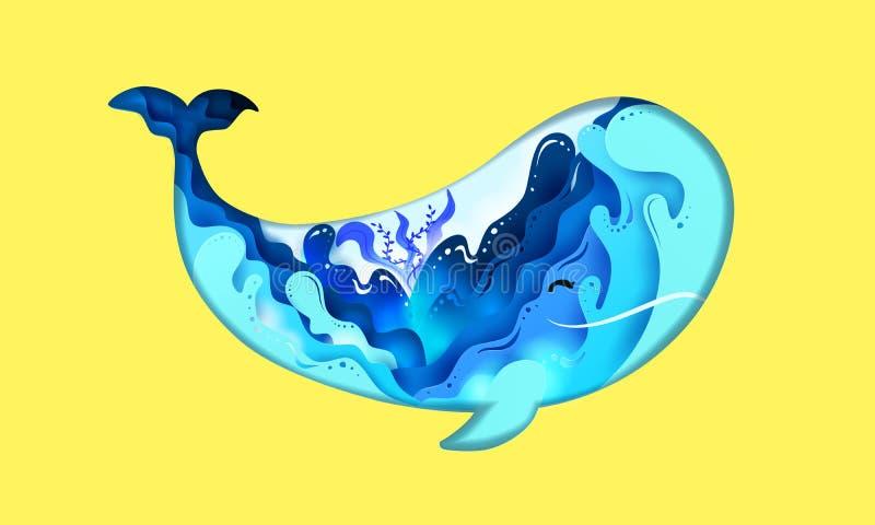 Ύφος βάθους τέχνης εγγράφου Βάθος, ωκεανός και κοράλλι κυμάτων θάλασσας σχεδίου μέσα στη μορφή φαλαινών στο θερινό χρόνο krasnoda απεικόνιση αποθεμάτων