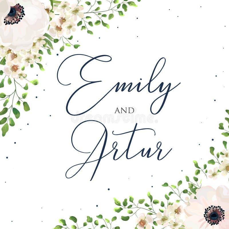 Ύφος γαμήλιου το floral watercolor προσκαλεί, πρόσκληση, εκτός από το dat διανυσματική απεικόνιση
