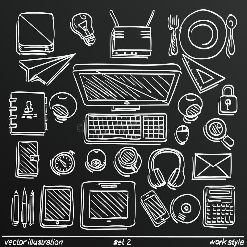 Ύφος εργασίας σκίτσων πινάκων κιμωλίας, καθορισμένο εικονίδιο 2 επίσης corel σύρετε το διάνυσμα απεικόνισης απεικόνιση αποθεμάτων