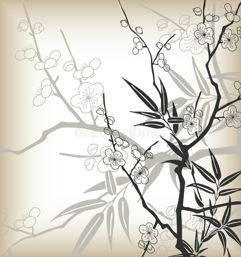 ύφος κερασιών ανθών της Ασί& απεικόνιση αποθεμάτων