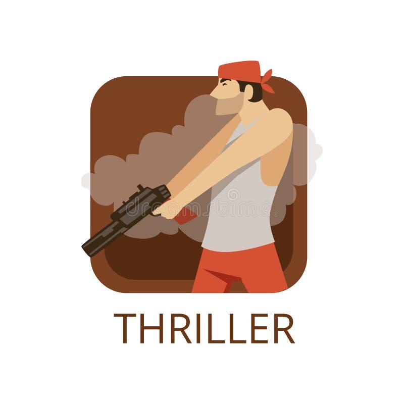 Ύφος κινηματογράφων θρίλλερ, σύμβολο για τον κινηματογράφο ή κανάλι, κινηματογραφία, διανυσματική απεικόνιση παραγωγής κινηματογρ διανυσματική απεικόνιση