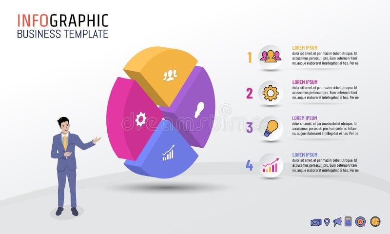 Ύφος κύκλων προτύπων επιχειρησιακού Infographic με 4 βήματα, επιλογές, διανυσματική απεικόνιση απεικόνιση αποθεμάτων