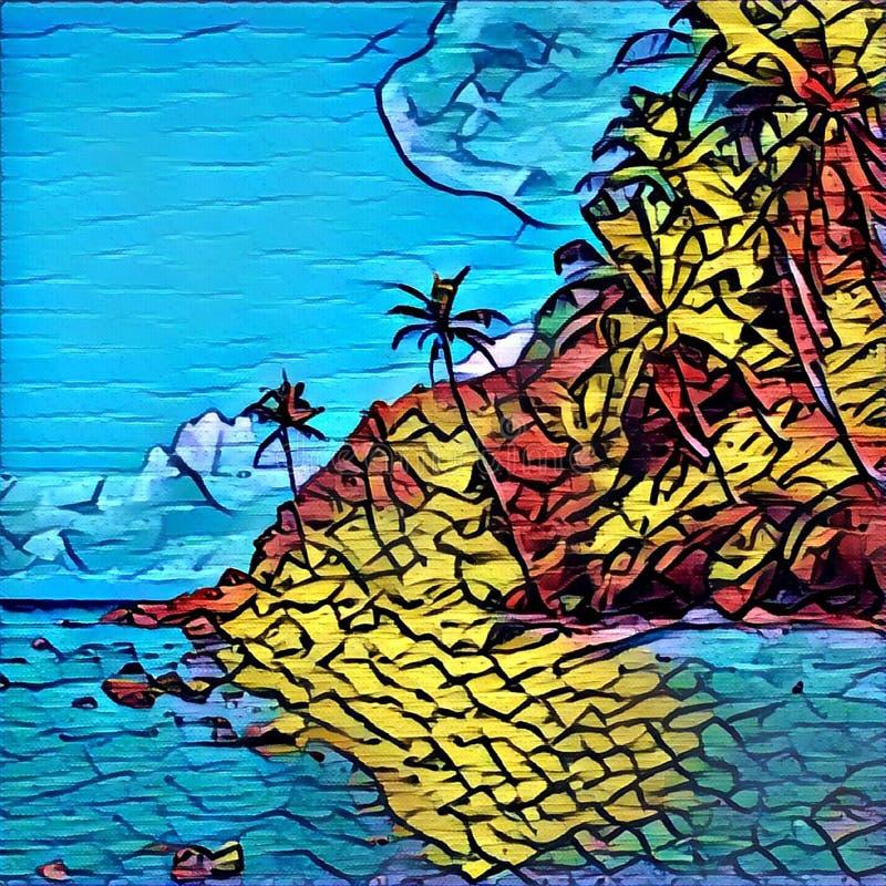 Ύφος μωσαϊκών, γκράφιτι ή λεκιασμένη εικόνα γυαλιού του τροπικού νησιού Εξωτικό τοπίο φύσης απεικόνιση αποθεμάτων