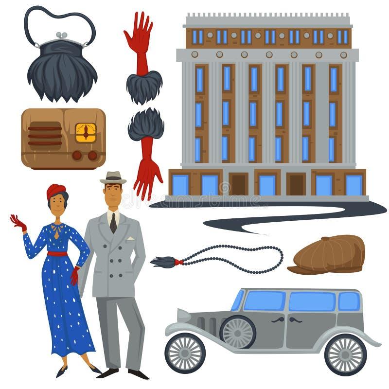 ύφος μόδας της δεκαετίας του '30 και αρχιτεκτονική, ενδύματα και αυτοκίνητο, σύμβολα εποχής ελεύθερη απεικόνιση δικαιώματος