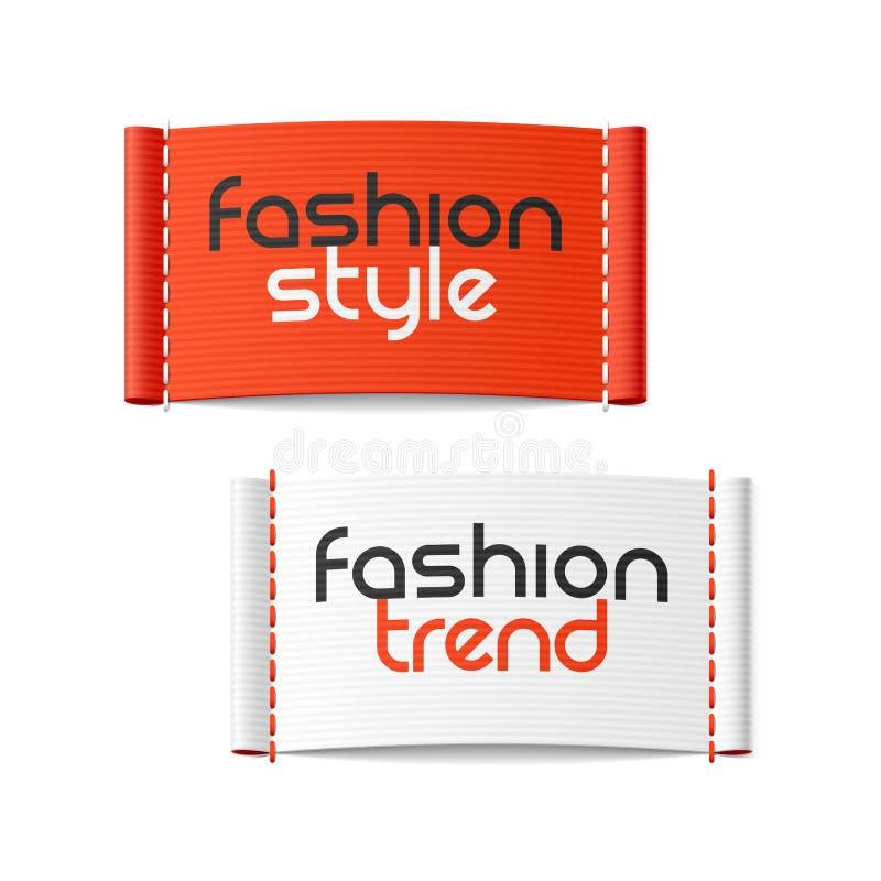 Ύφος μόδας και ετικέτες τάσης μόδας απεικόνιση αποθεμάτων