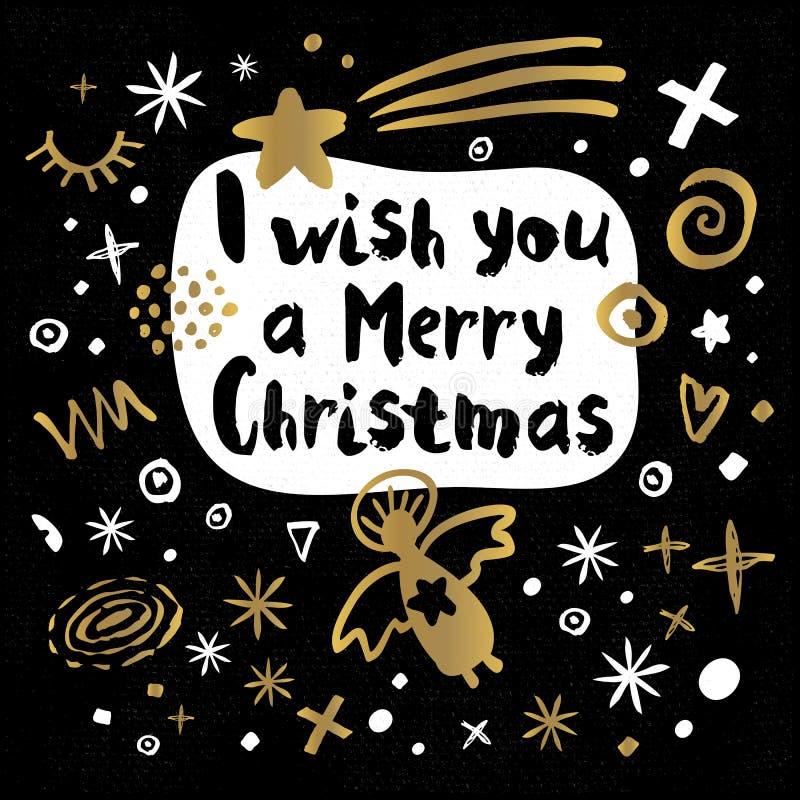Ύφος σκίτσων καλής χρονιάς Χαρούμενα Χριστούγεννας ελεύθερη απεικόνιση δικαιώματος
