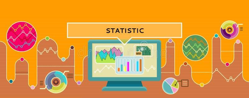 Ύφος σχεδίου έννοιας στατιστικής επίπεδο διανυσματική απεικόνιση