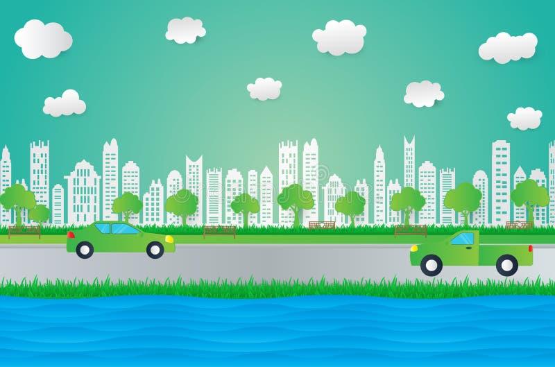 Ύφος σχεδίου τέχνης εγγράφου, πόλη με τη χλόη, ήλιος, σύννεφο, ecol φύσης ελεύθερη απεικόνιση δικαιώματος