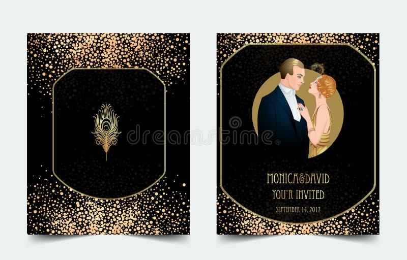 Ύφος της δεκαετίας του '20 πτερυγίων Εκλεκτής ποιότητας κόμμα ή θεματική γαμήλια πρόσκληση διανυσματική απεικόνιση