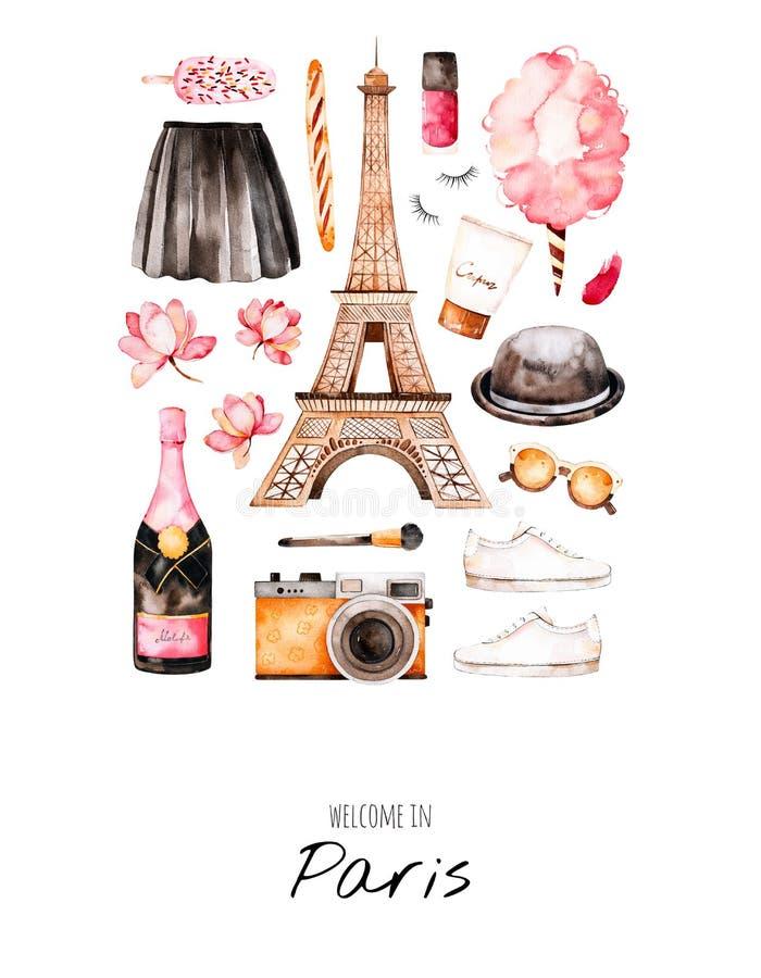 Ύφος του Παρισιού απεικόνισης Watercolor διανυσματική απεικόνιση