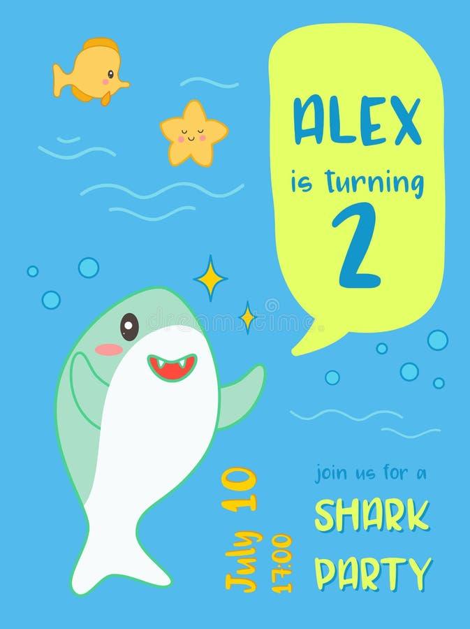 Ύφος Kawaii καρτών πρόσκλησης γενεθλίων ντους μωρών με το χαριτωμένο καρχαρία και τα θαλάσσια πλάσματα Έμβλημα παιδιών, υπόβαθρο  απεικόνιση αποθεμάτων