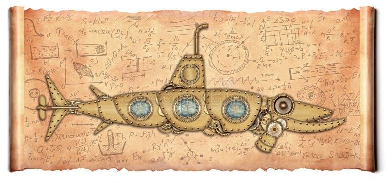 Ύφος Steampunk υποβρύχιο διανυσματική απεικόνιση