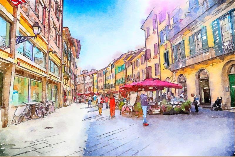 Ύφος Watercolor, ζωή πόλεων διανυσματική απεικόνιση