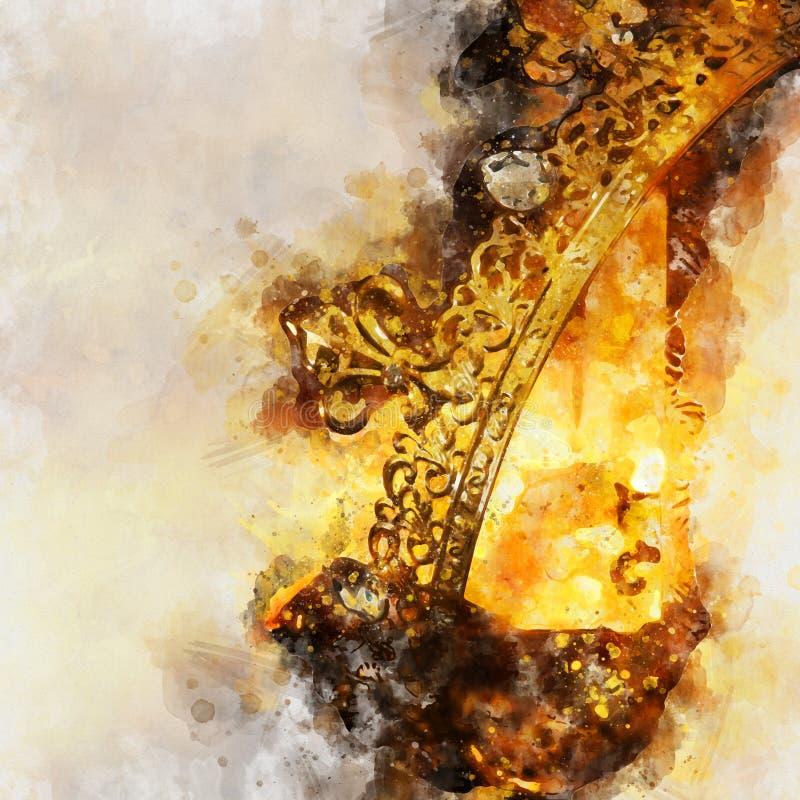 ύφος watercolor και αφηρημένη εικόνα της όμορφης κορώνας βασίλισσας/βασιλιάδων μεσαιωνική περίοδος φαντασίας απεικόνιση αποθεμάτων