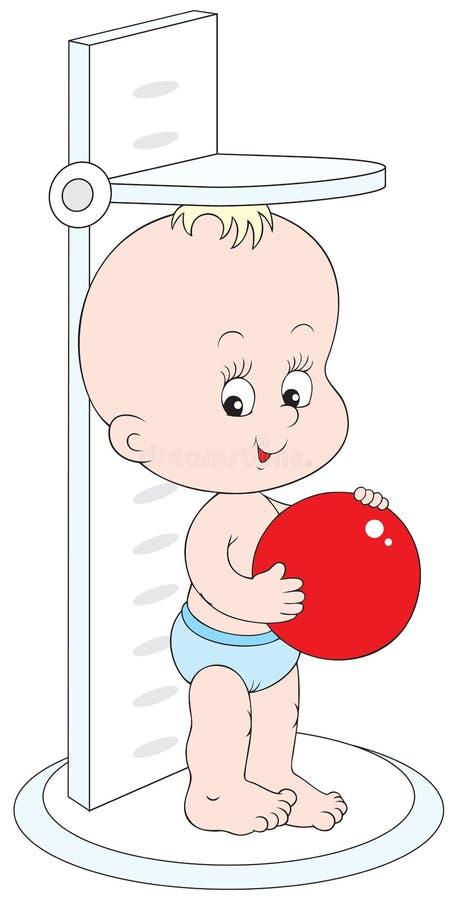 ύψος παιδιών η μέτρησή του μι& διανυσματική απεικόνιση
