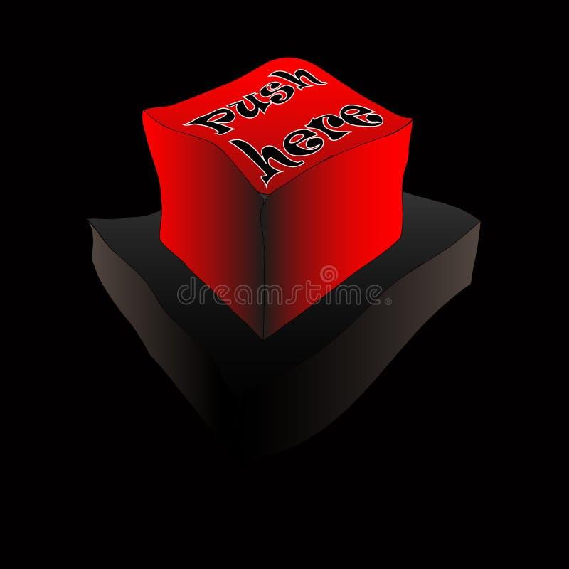 Ώθηση κουμπιών εδώ διανυσματική απεικόνιση