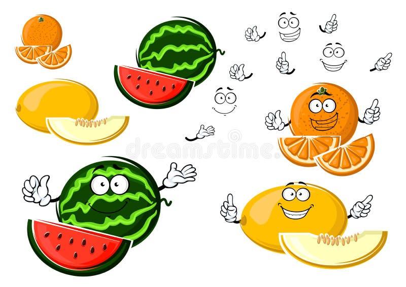 Ώριμα φρούτα πεπονιών, πορτοκαλιών και καρπουζιών απεικόνιση αποθεμάτων