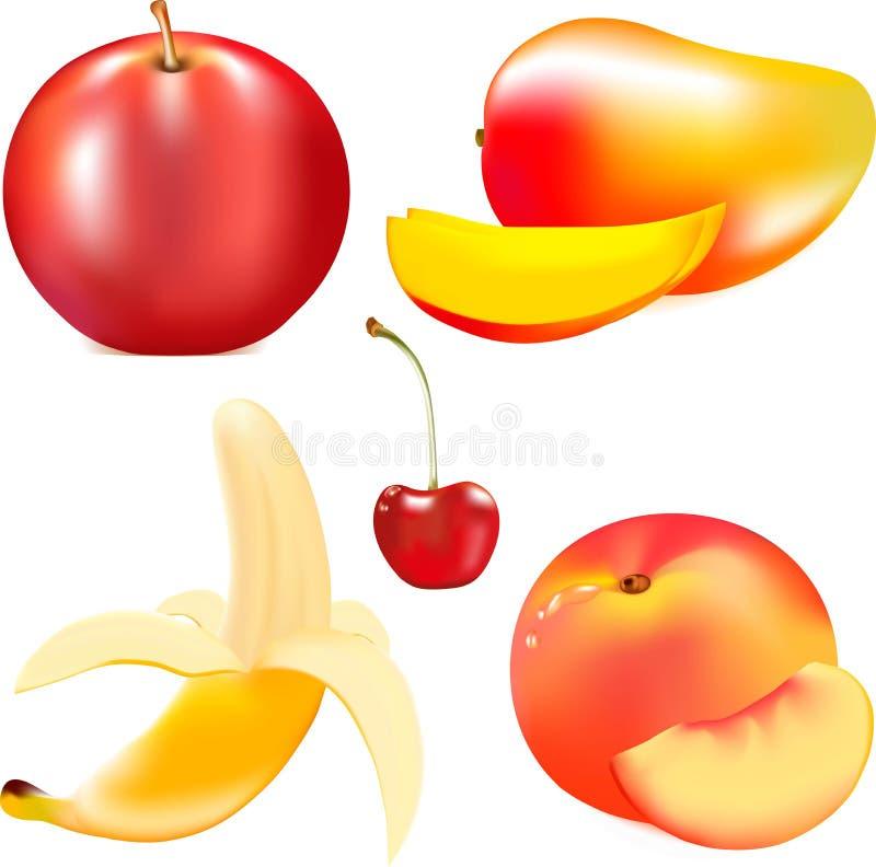 Ώριμα juicy φρούτα, κόκκινο ώριμο μήλο, ώριμη κίτρινη μπανάνα, μικρό ÐºÑ€Ð°Ñ  Ð ½ Ñ ‹Ñ  κεράσι, ένα νόστιμο ροδάκινο διανυσματική απεικόνιση