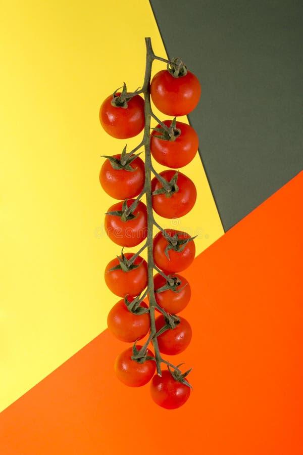 Ώριμες κόκκινες ντομάτες κερασιών στο χρωματισμένο υπόβαθρο στοκ εικόνες