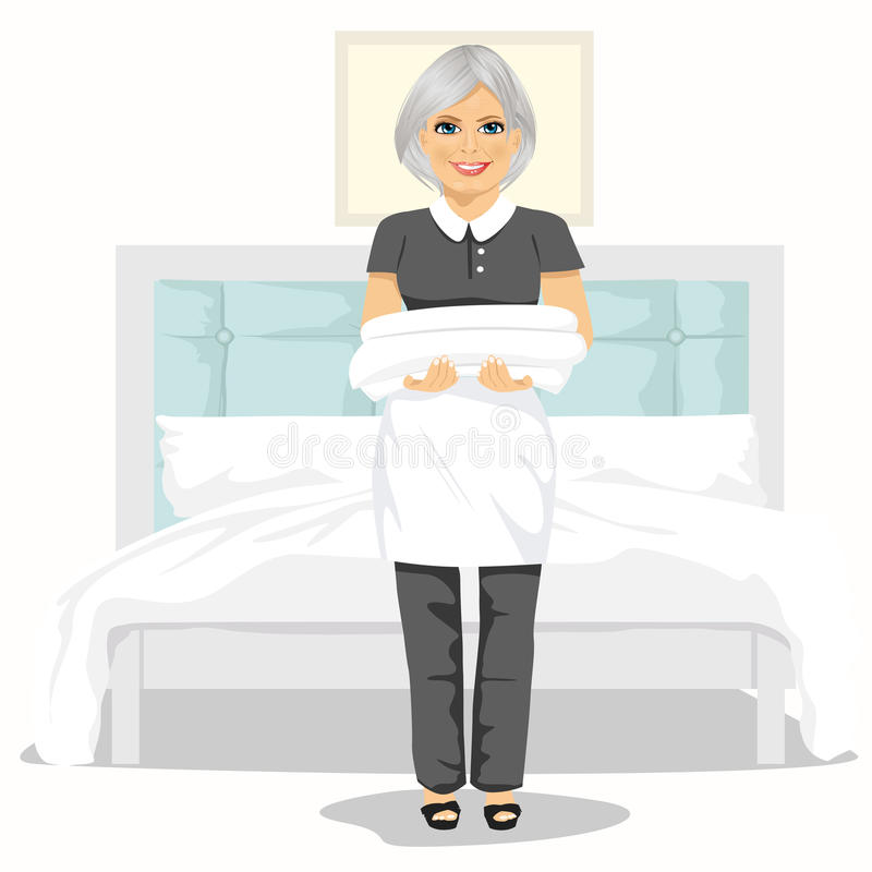 Ώριμη γυναίκα κοριτσιών με τις πετσέτες και τα σεντόνια Έννοια υπηρεσιών καθαρισμού σπιτιών απεικόνιση αποθεμάτων